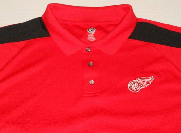 DETROIT RED WINGS Men's NHL Red Golf Shirt Polo XXL 2XL Short Sleeve Hockey #NHL #PoloRugby