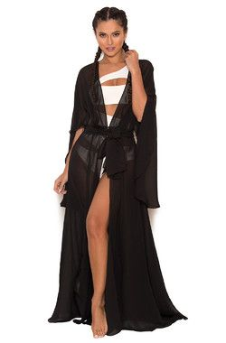 Mariea Black Chiffon Full Length Beach Cover Up