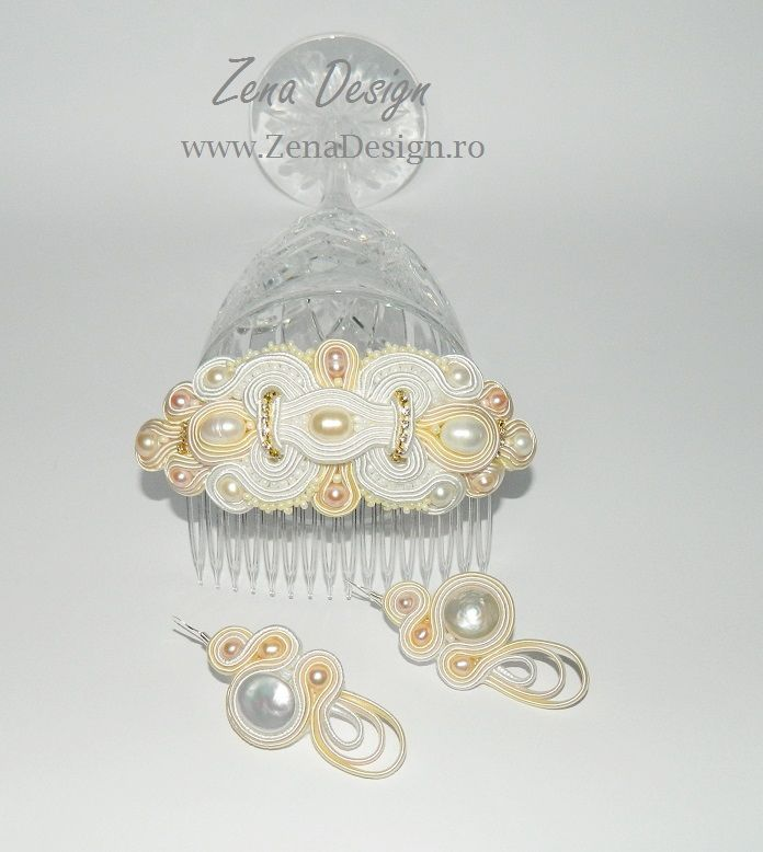 Jewelry for the bride, soutache Combs, Combs for  bride hair, – Zena Design