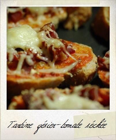 Tartine gésier-tomate séchée