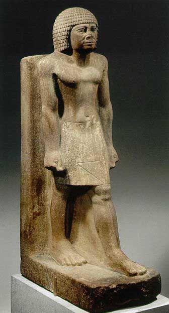 Stehender 4. Dynastie Quarzit bemalt Höhe 89,5 cm Metropolitan Museum,