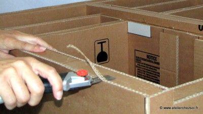 finition meuble en carton : découpe de débords
