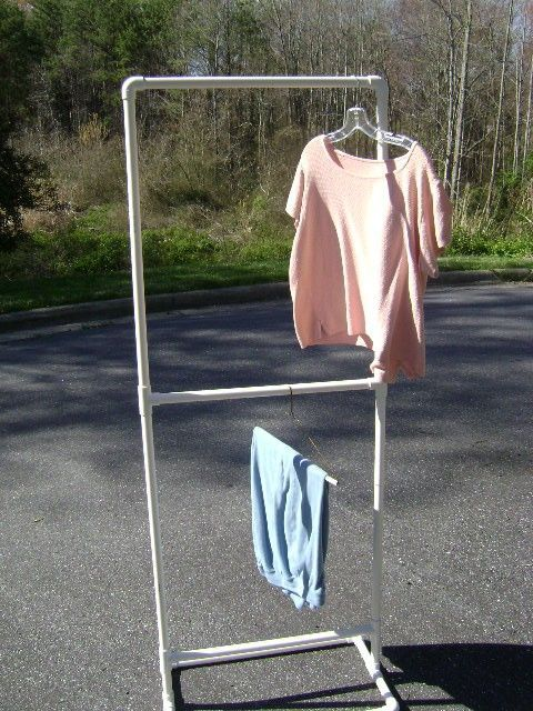 simple display clothing rack...need to make for costume storage for garage - Also need to make one of these with lots of bars for drying laundry - unusual handbags, discount purses, pretty purses *sponsored https://www.pinterest.com/purses_handbags/ https://www.pinterest.com/explore/purse/ https://www.pinterest.com/purses_handbags/dkny-handbags/ https://www.nordstromrack.com/shop/Women/Handbags