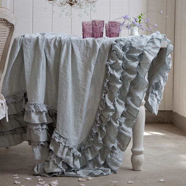 Amazing Teal Petticoat Tablecloth From Rachel Ashwell Shabby Chic Couture