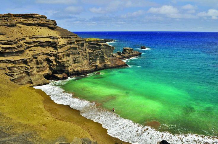 Papakolea Green Sand Beach, Havaiji USA