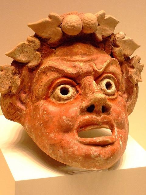 Mask of a Satyr Greek made in the eastern Mediterranean 300-100 BCE Terracotta