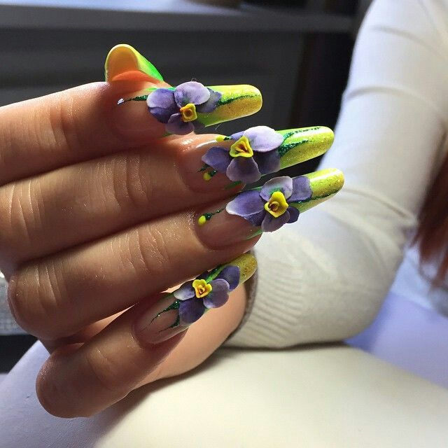 111 best Acrylic Flowers on Nails images on Pinterest | Nail ...