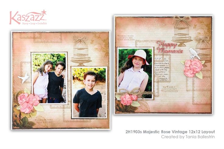 2H1903s Majestic Rose Vintage 12x12 Layout