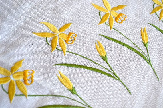 Vintage Linen Tablecloth  Embroidered Yellow by pumpkintruck, $28.00