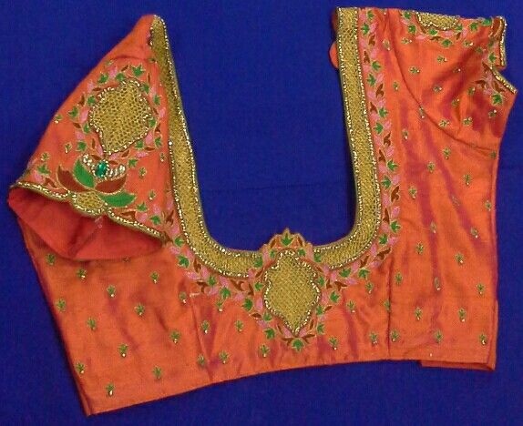 Rawsilk blouse with maggam work