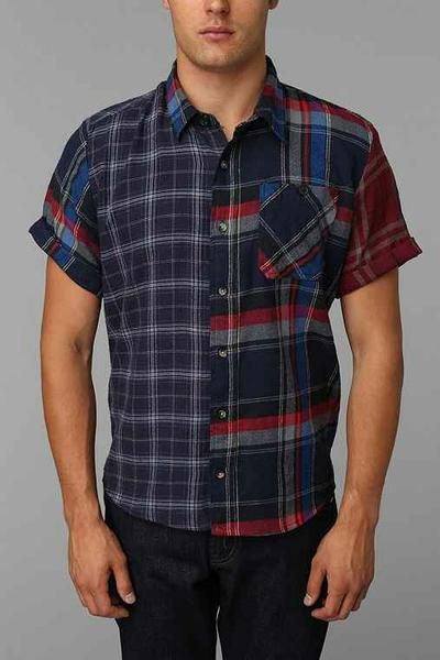 Honey | Urban Renewal Short-Sleeve Pieced Flannel Shirt 32% off at Urban Outfitters