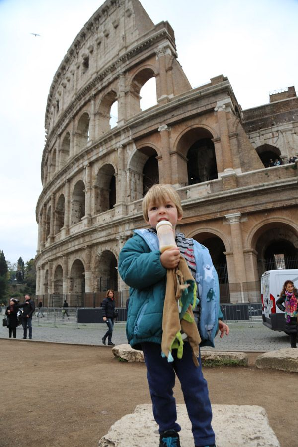 Colosseum Rome for Kids standing tall like a Gladiator. Italy for kIds blog at www.twoinarowblog.com