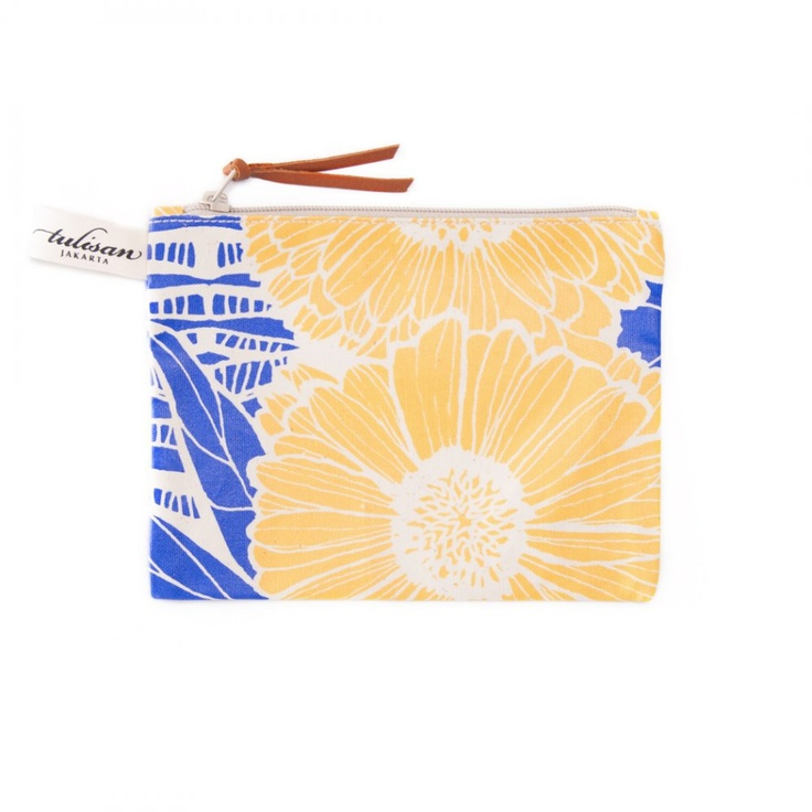 Accessories: Small Pouch Yellow Sunflower $15
