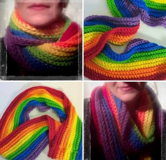 Rainbow Infinity Scarf  handmade colorful winter by BoxElderBrand