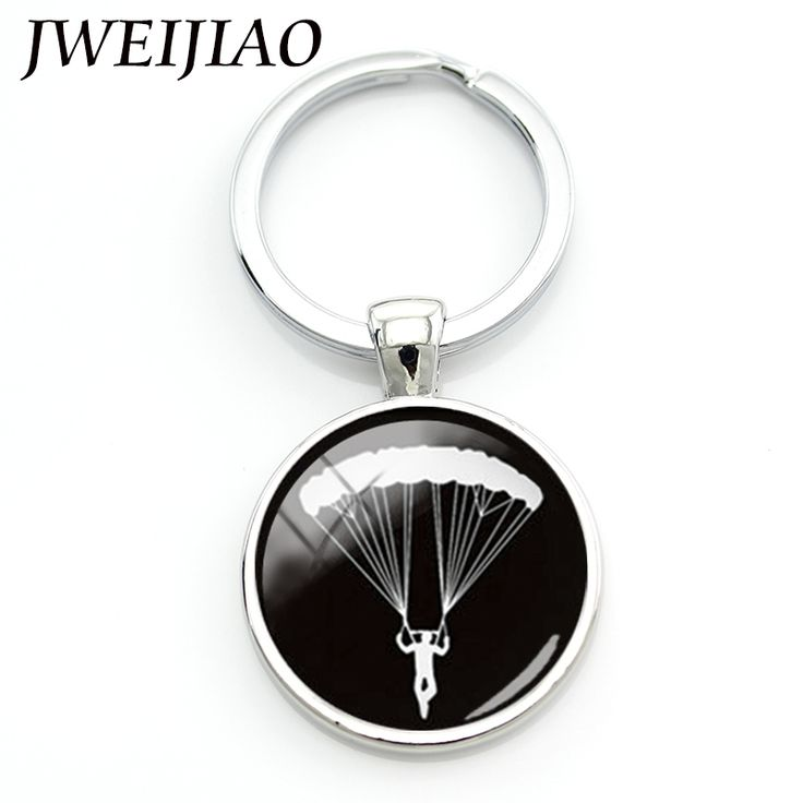 JWEIJIAO Llaveros Porte Clef Charming Daring Sports Sky Diving Parachuting Chain Go Skydiving Parachute Keychain Hobby Time  #Affiliate
