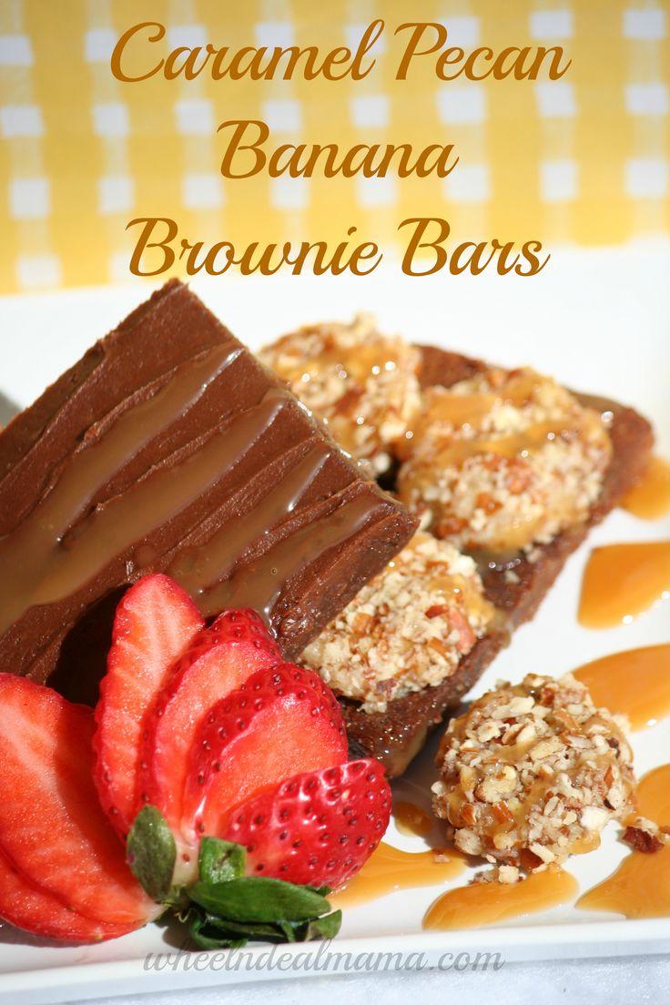Caramel Pecan Banana Brownie Bars