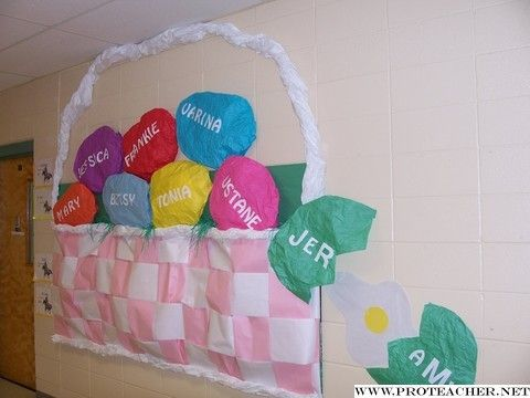 24 best fun easter crafts images on pinterest easter crafts giant easter basket with eggs in it with student names negle Images