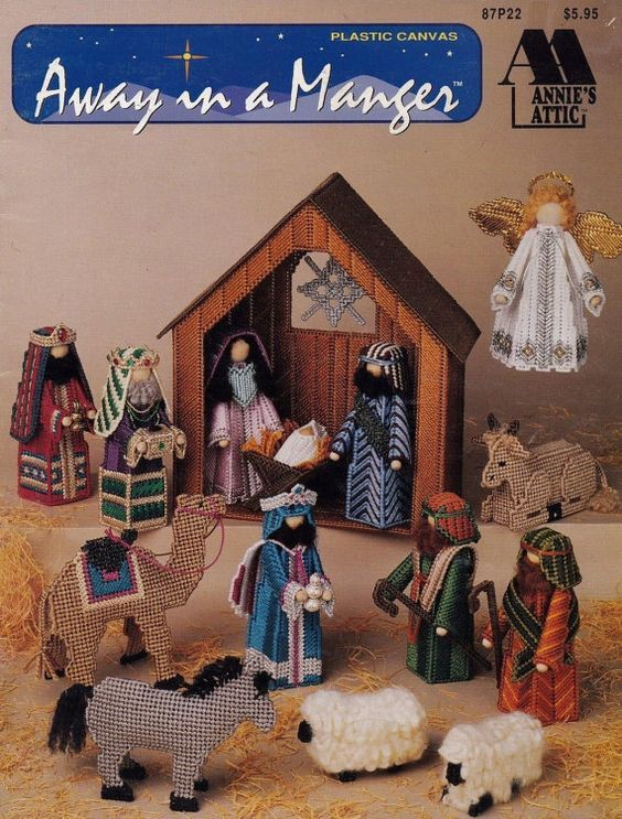 Away in a Manger, Annie's Attic Plastic Canvas Booklet 87P22 RARE HTF The Birth of Christ Christmas Nativity Jesus Mary Joseph Manger & More