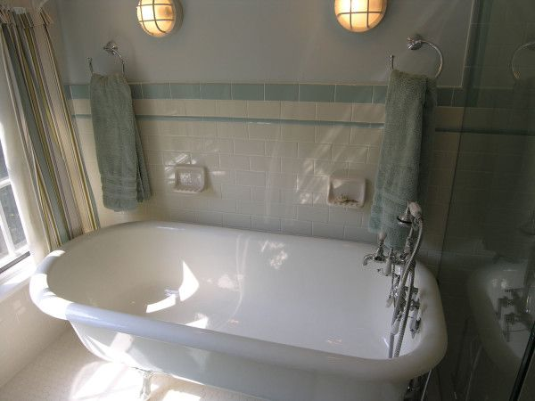 Attractive Bathroom Ideas With Clawfoot Tub Shower And Towel Rack Also  Using Wall Lighting