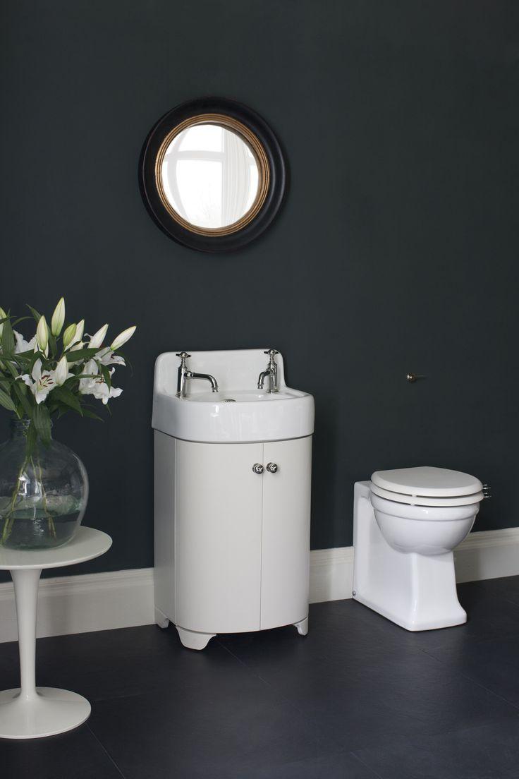Fine fixtures milan wood white small corner bathroom vanity ebay - Black Bathroom With Retro Sink Unit Stunning Furniture Pieces Arcade Sand Vanity Unit Floor Standing Cloakroom Basin From Arcade Bathrooms