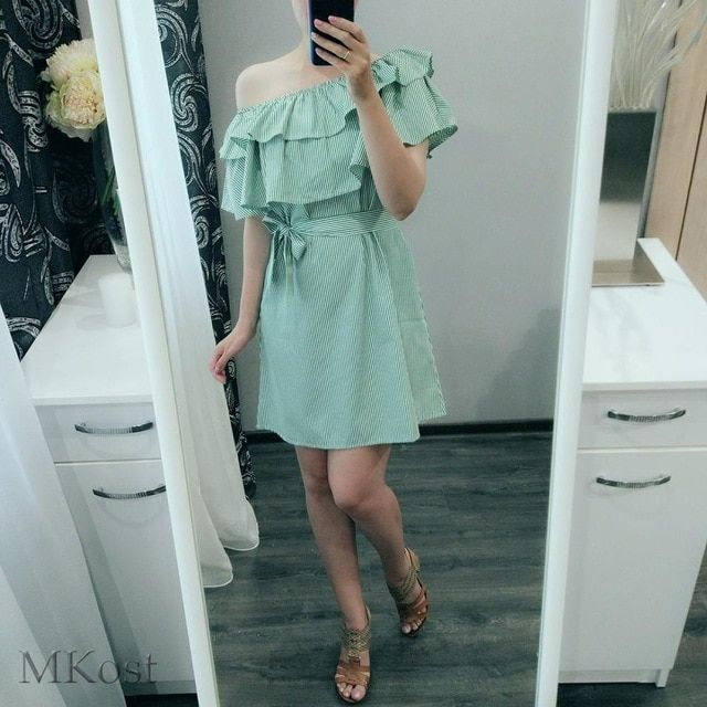 Women dresses striped summer dress ruffle collar bandage sundress casual bodycon summer dress vestido de festa