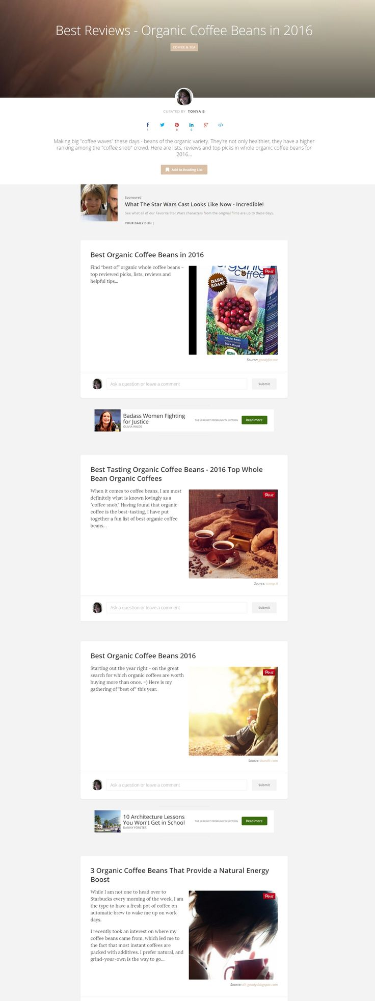 Best Reviews - Organic Coffee Beans in 2016 @ Learnist