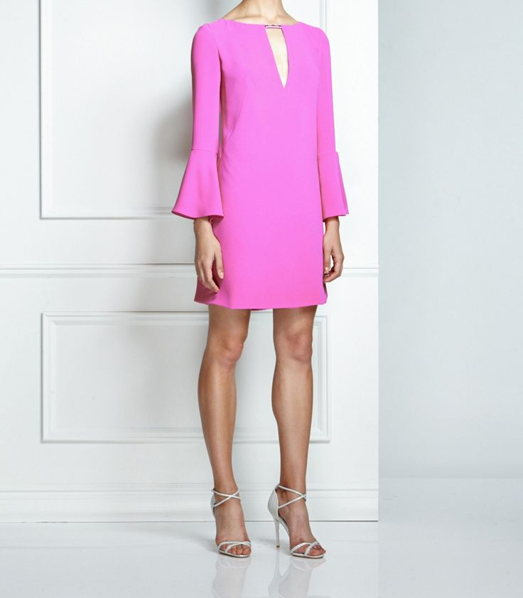 Pink Shift Dress with beaded keyhole by Pamela Roland