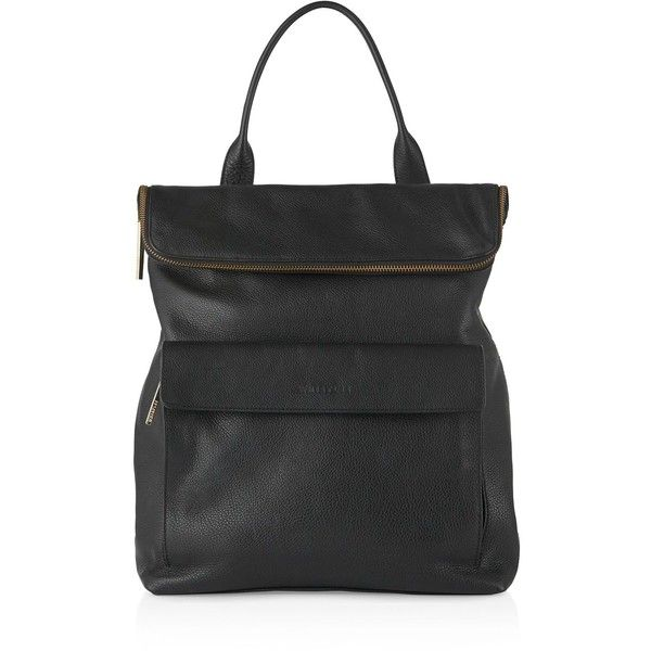 Whistles Verity Leather Backpack (395.745 CLP) ❤ liked on Polyvore featuring bags, backpacks, black, leather rucksack, whistles bags, real leather bags, whistles backpack and leather bags