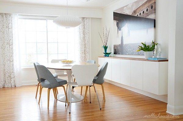 DIY floating sideboard in modern dining room