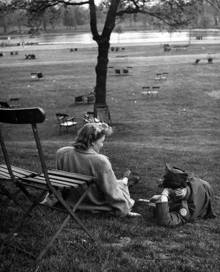 <b>Caption from LIFE.</b> Anglo-American friendship is furthered by boy and girl meetings in Hyde Park.