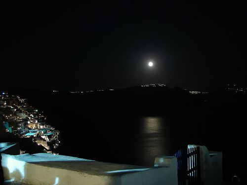 Full Moon above Fira Santorini as seen from oia