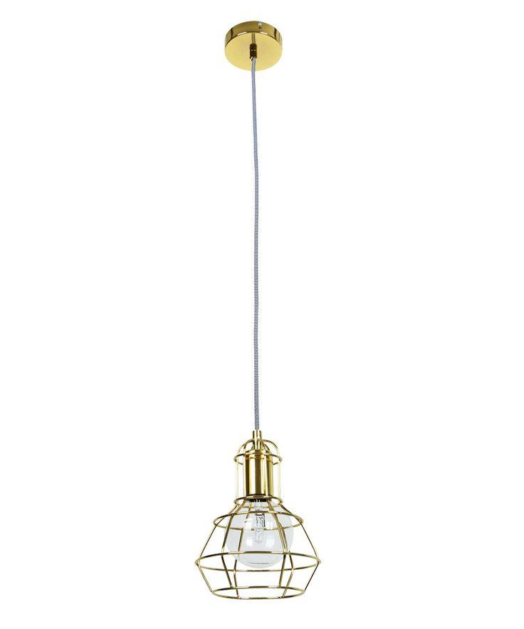 Mechanics 1 Light Cage Pendant in Gold | Pendant Lights | Lighting
