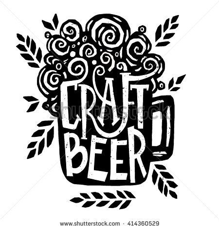 Vector illustration - Hand drawn lettering for bar or beer festival with mug of craft beer. Design for pub menu, beer house, brewery poster, label or logo. - stock vector