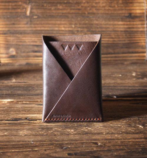 Leather Card Wallet - Handmade Card Holder, folded card wallet Brown via es.corner