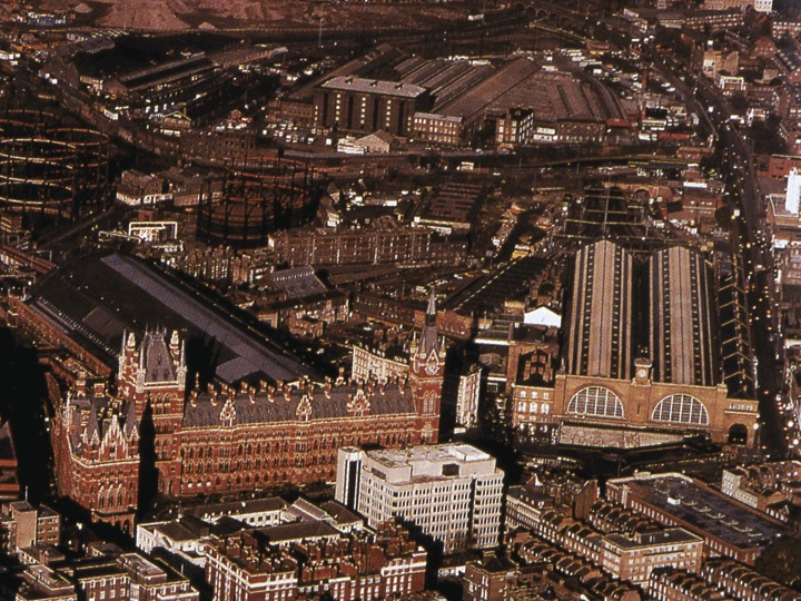 A pretty old aerial photo of King's Cross and St Pancras. I've no idea what the date is but it's newer than 1973 and older than 1990.