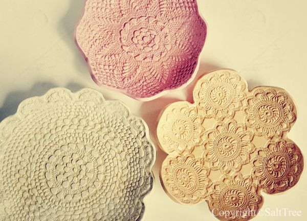 SaltTree: Doily pressed, clay bowls.
