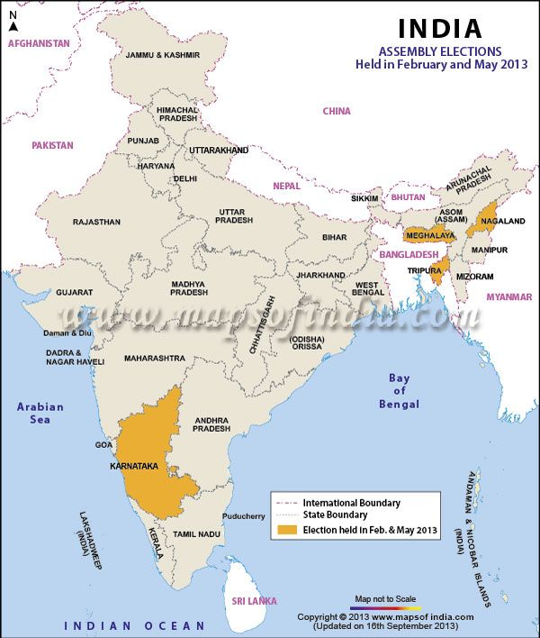 Find information related to the 2013 election results for the states of Karnataka, Tripura, Nagaland, Meghalaya. Also find a map showing the states in which election were held in the month of Feb and May 2013.