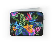 Jungle Vibe Laptop Sleeve by Vikki Salmela, #new #aloha #bright #Hawaiian #tropical #jungle #floral #flowers #painted #art on #fashion #tech #accessory #laptop #sleeve, for #travel #office #home #school or #gift.