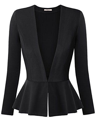 Bebonnie Women Thin Peplum Casual Work Blazer Jacket Tops(Size Runs Small) - http://www.darrenblogs.com/2017/02/bebonnie-women-thin-peplum-casual-work-blazer-jacket-tops%ef%bc%88size-runs-small%ef%bc%89/