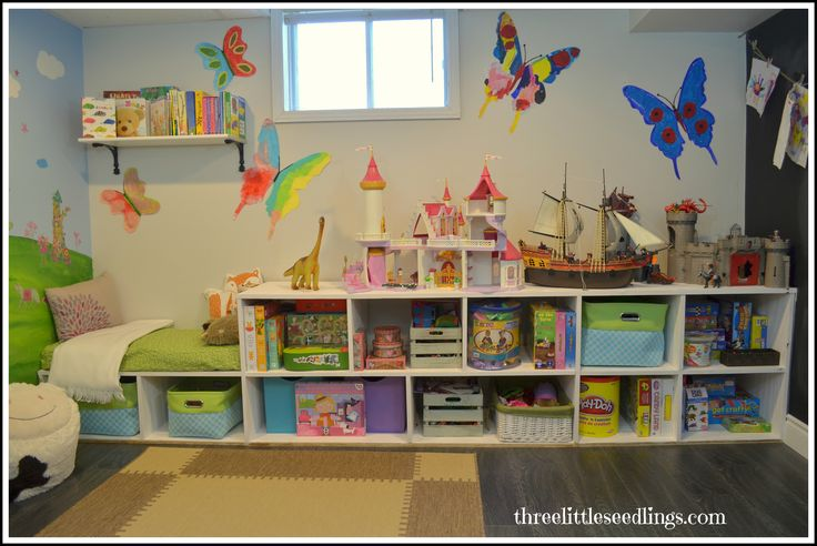 Forget the man-cave. Transform your basement into a fun playroom instead! www.threelittleseedlings.com