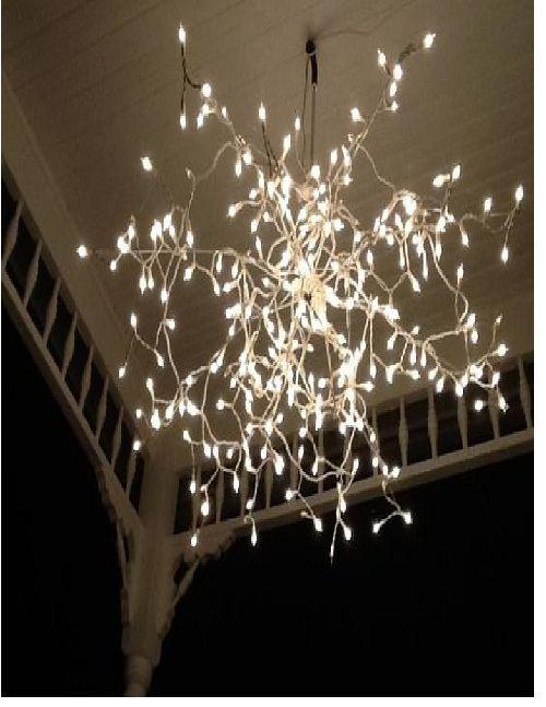 umbrella + lights= chandelier