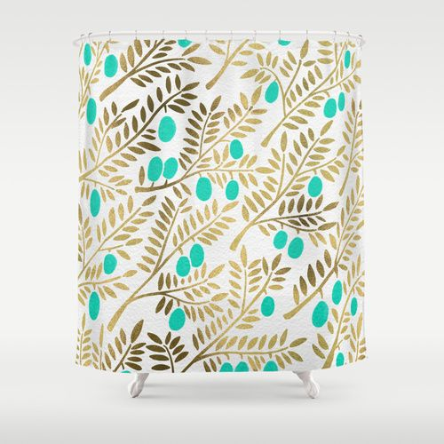 Gold Turquoise Olive Branches Shower Curtain