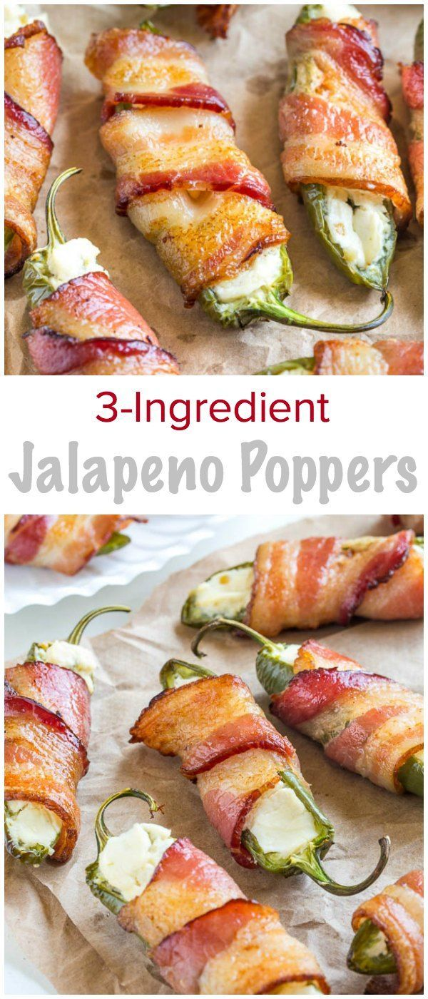 3ingredient Jalapeno Poppers Appetizer Ideasparty Appetizersappetizer Recipesbacon  Wrapped