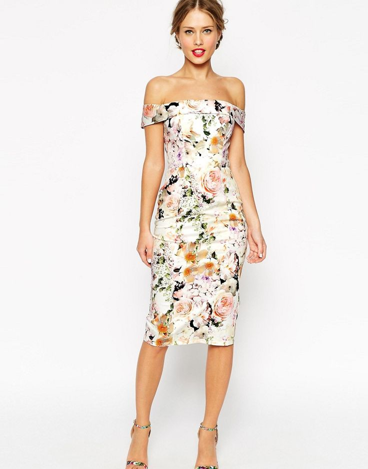 ASOS WEDDING Bardot Floral Off Shoulder Pencil Dress