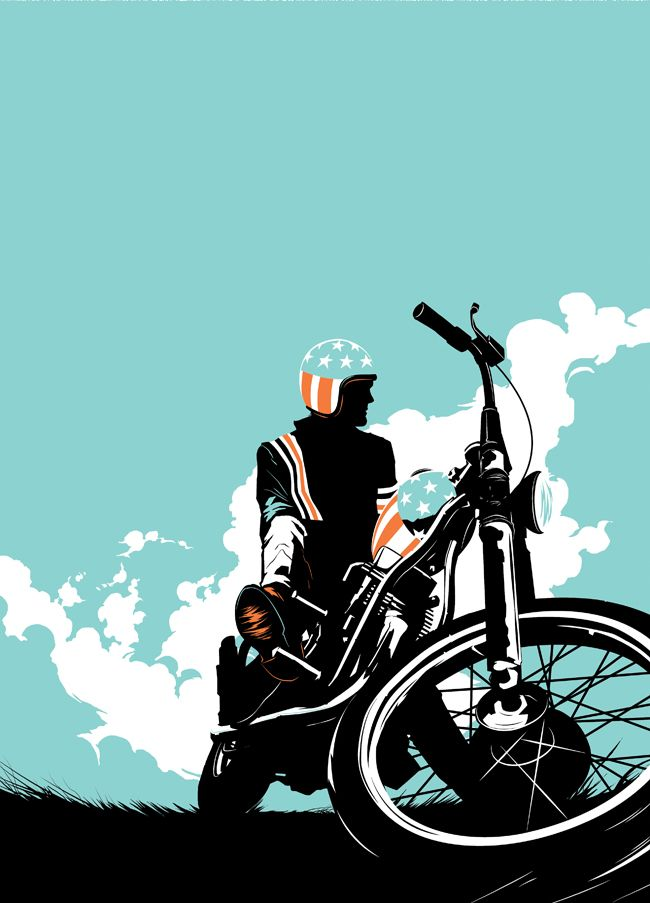 Matt Taylor: Easy Rider - Art print produced for the Crazy 4 Cult exhibition, inspired by the movie Easy Rider.
