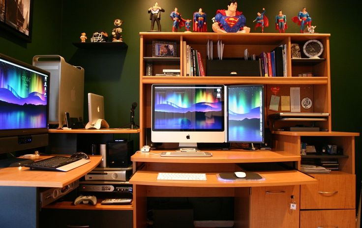Amusing Best Home Computer Setup With Brown Wooden Computer Desk And Monitor Wireless Keyboard Also Mouse Sets On Lacquered Wooden Desk As Well As Blue Red Small Superman Toys On The Top Desk With Computer Stations Also Home Network Installation, Marvelous Ideas For Best Home Computer Setup Design: Furniture, Office