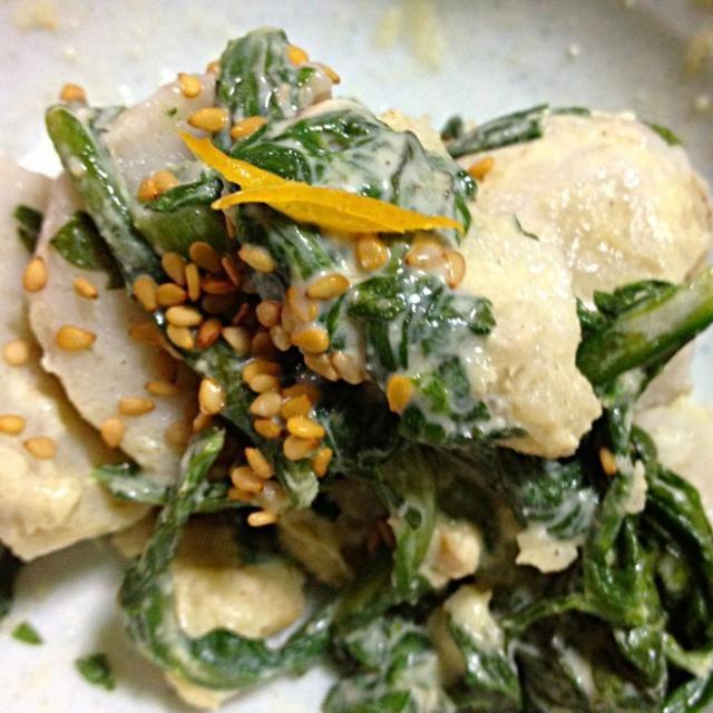 前から作りたかった里芋のサラダ(^-^)/春菊の独特な味が利いてるアイデアレシピでした(^-^)!