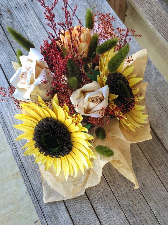 Fall Floral Arrangement Sunflowers and Roses by PosyDisposition