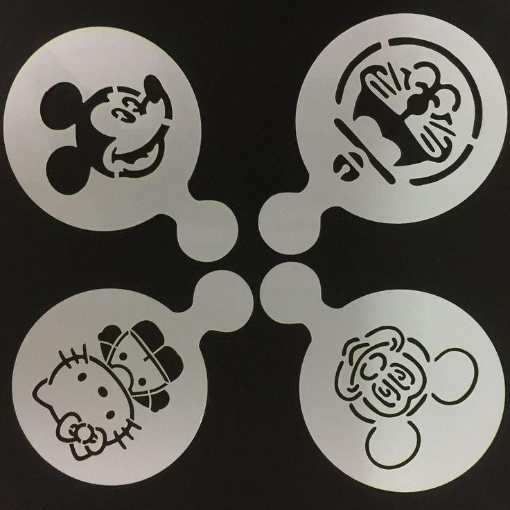 4 Pçs/lote Ratos Dos Desenhos Animados Gato de Café Latte Stencil Stencils de Decoração Do Bolo Do Bolinho Molde Decoração W160518 Barista Duster Arte DIY em   de   no AliExpress.com | Alibaba Group