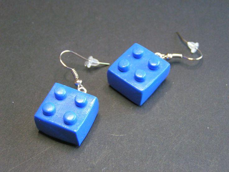 boucles d'oreilles imitation lego bleu de Jewelry fimo sur DaWanda.com